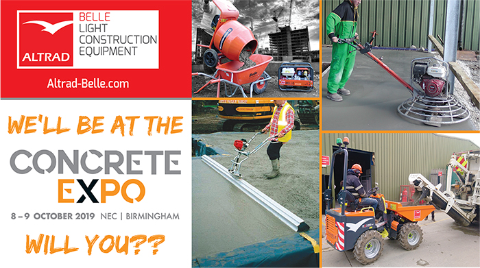Altrad Belle are Exhibiting at the UK Concrete Expo 2019